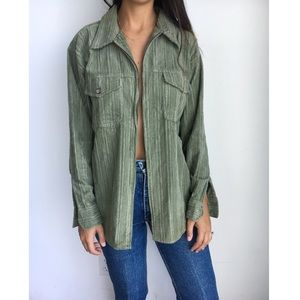 Vintage Army green corduroy tunic jacket S
